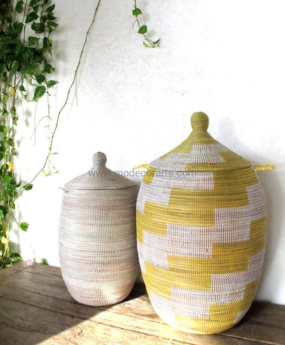Woven African Laundry Clothes Hamper - Graphic Basket- Decorative Storage - yellow white - Extra Large - Fair Trade