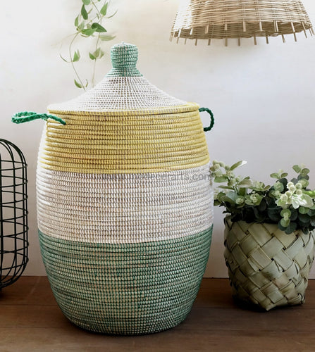 Maisha Laundry Basket (Xl) / Tricolor Green White Yellow Storage Baskets Tajine Lid