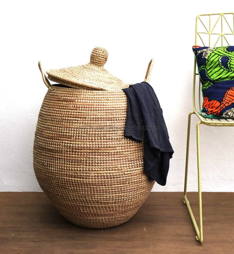 Woven African Laundry Clothes Hamper - Natural Basket- Decorative Storage - Natural - Extra Large - Fair Trade