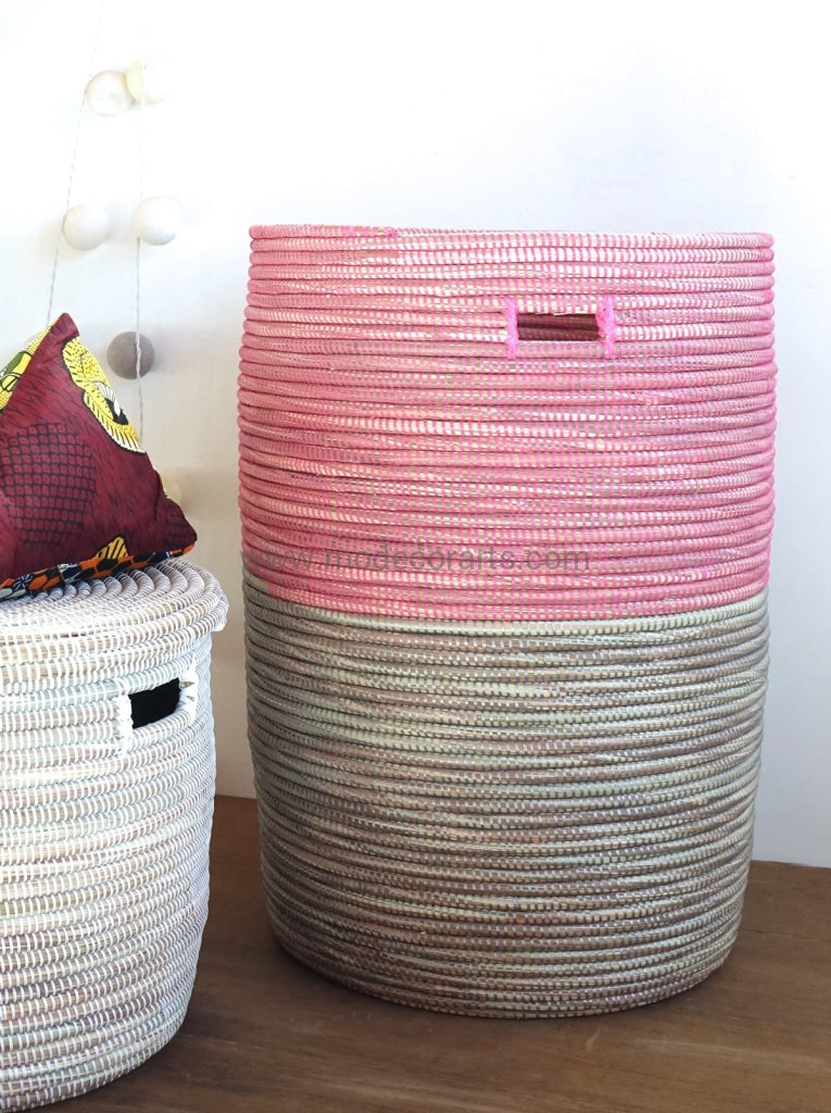 Open Basket In Duo Color / Pink & Gray Storage Decluttering Solution Apartment Idea Flat Lid