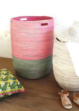Open Basket In Duo Color / Pink & Green Flat Lid