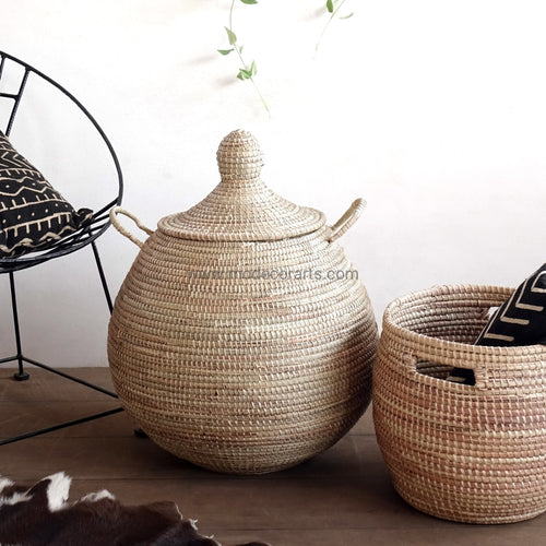S Size Palm Tree Natural Basket / Storage Hamper African Baskets