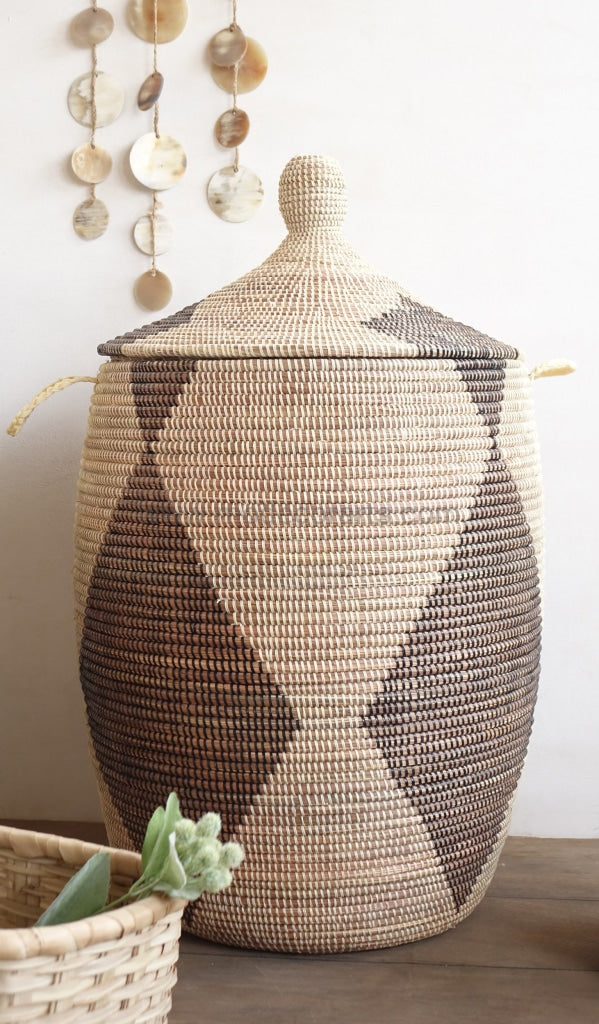 Sale | Black Diamand Patterned Laundry Basket (Xl) / Ivory Home Decor Accessory Tajine Lid