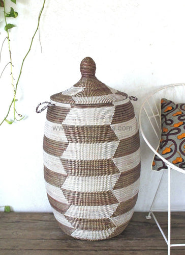 Sale | Chevron Patterned Laundry Basket (Xl) In Dark Brown & White / Hamper Tajine Lid