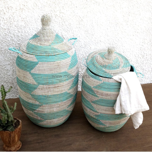 Sale Discount / Set Of Turquoise Chevron Laundry Baskets Tajine Lid Basket