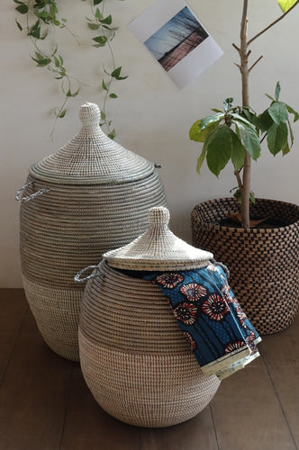 Woven African Laundry Clothes Baskets - Gray - White - Set of 2 hampers - Fair Trade