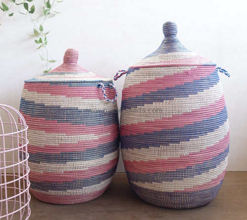 Sale | Set Of Twirl Patterned Laundry Baskets Tajine Lid Basket