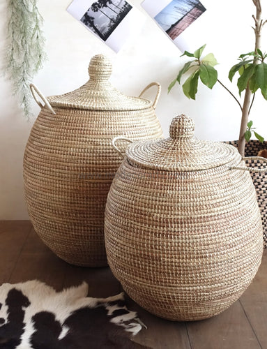 Set Of 2 Natural African Baskets / Wicker Laundry Basket