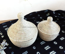 Set Of 2 Small Tajine Containers / Plain Color Storage Baskets Flat Lid Basket