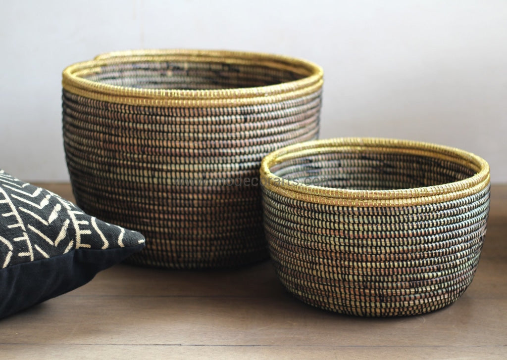Set Of 2 Sparkling Storage Bins / New Design Basket Black X Gold Flat Lid