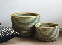 Set Of 2 Sparkling Storage Bins / New Design Basket Matcha Green X Gold Flat Lid