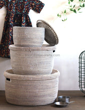 Set Of 3 Plain White Flat Lidded Baskets | Sale Lid Basket