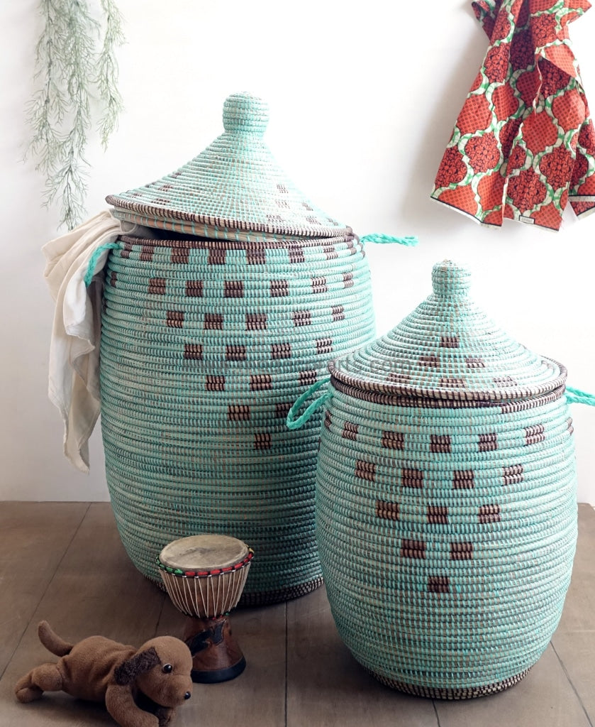 Beautiful unique patterned baskets suiting to your home decor. This Senegal hamper is used to decorate and declutter.