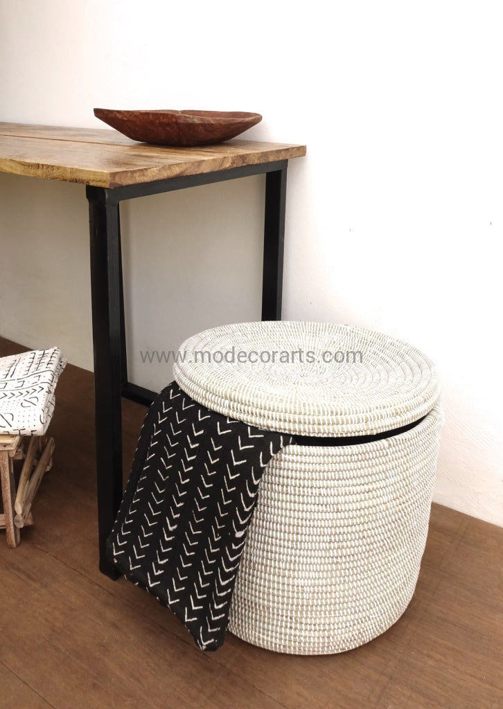Solid White Basket With A Flat Lid / Storage Toy