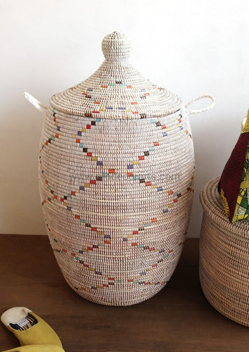 White Laundry Basket With Multi Color Pattern Tajine Lid