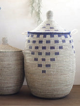 White Pottery Design With Blue Pattern Laundry Basket / African Baskets Tajine Lid