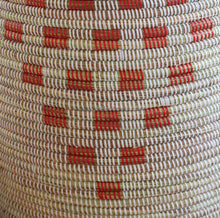 White Pottery Design With Red Pattern Laundry Basket / African Baskets Tajine Lid