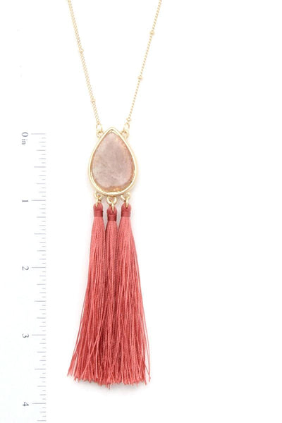 Teardrop Shape Tassel Pendant Necklace