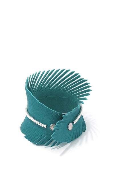 Pu Leather Fray Metal Bead Wrap Bracelet