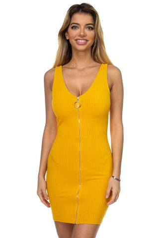 O-ring Front Zipper Up Mini Dress