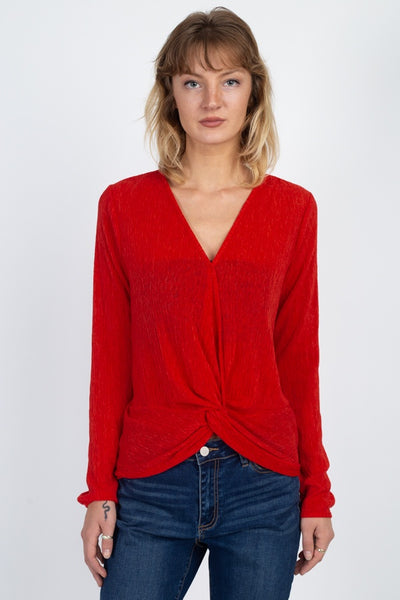 Twist Hem Brushed Knit Top