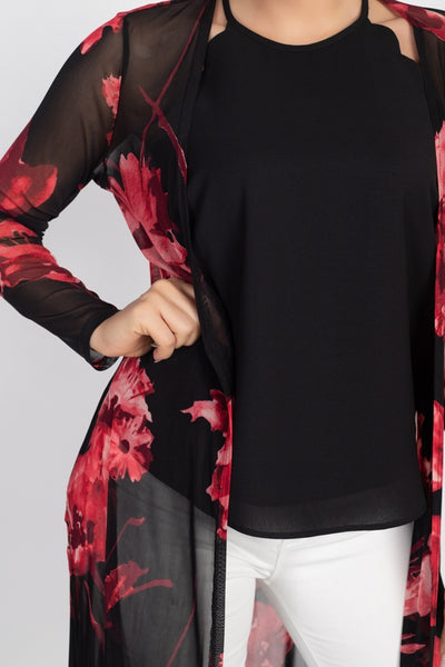 Side Slit Floral Mesh Cardigan