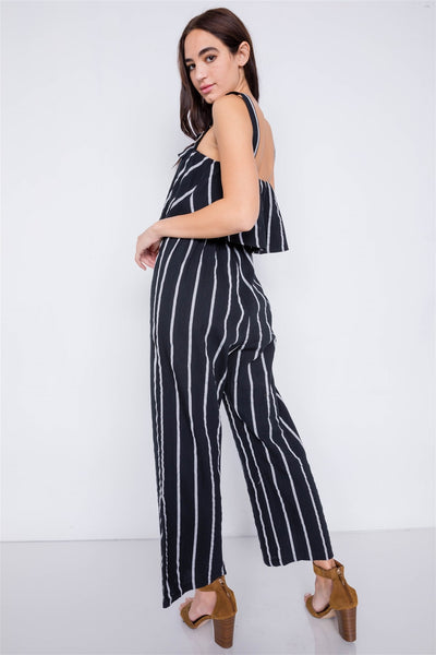 Stripe Buckle Shoulder Wide Leg Jumpsuit