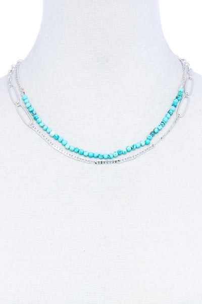 Double Layer Beaded And Chain Necklace