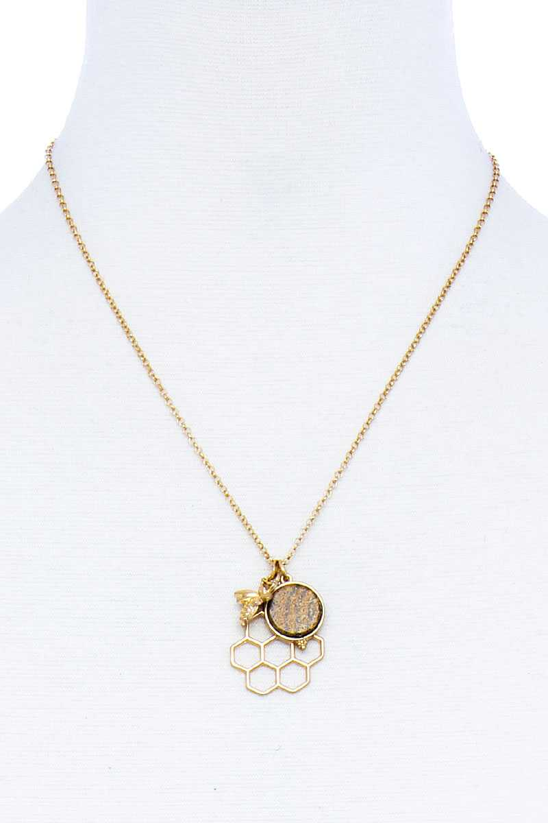 Fashion Bee Hive Pendant Necklace