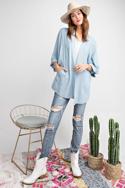 Soft And Lightweight Dolman Slvs Washed Denim Linen Look Open Cardigan