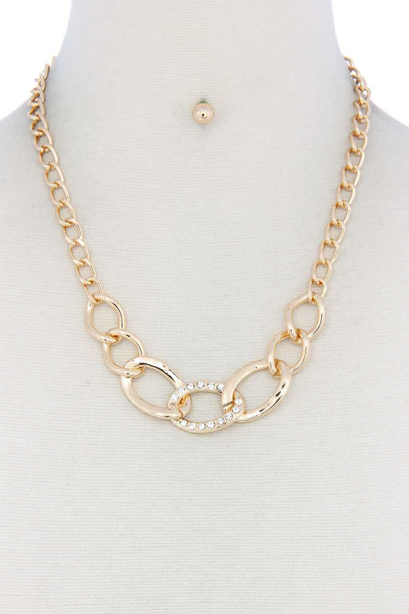 Rhinestone Oval Shape Linked Necklace