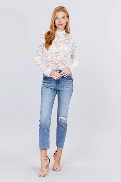 Long Sleeve Scallop Mock Neck Lace Bodysuit