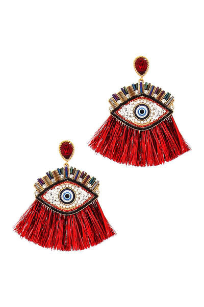 Hot Trendy Eye And Fan Tassel Drop Earring