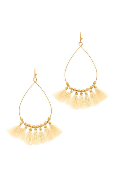 Fashion 7 Mini Tassel Tear Drop Wire Earring
