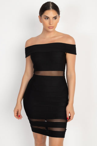 Off Shoulder Shadow Stripe Mini Dress