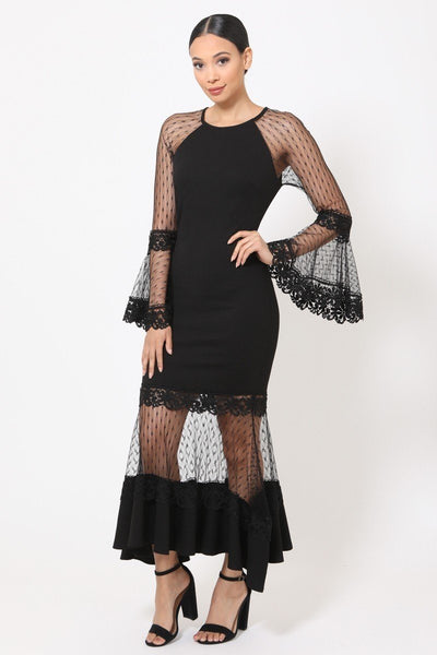 Bell Sleeve Mesh Combined Fashion Long Dress