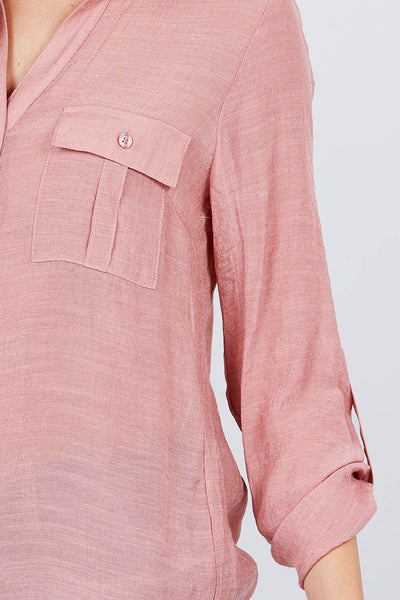 Pink 3/4 Roll Up Sleeve With Pocket Woven Shirts