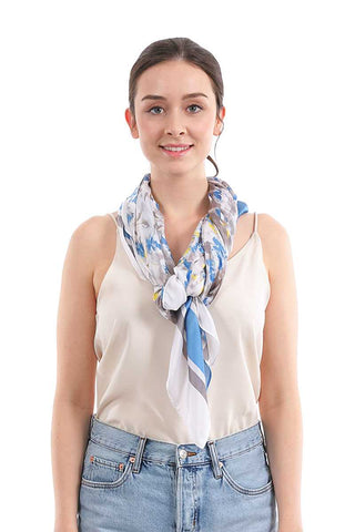 Fashion Small Floral And Stripe Pattern Silky Scarf