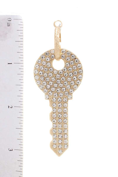 Rhinestone Dangle Key Mini Hoop Earring