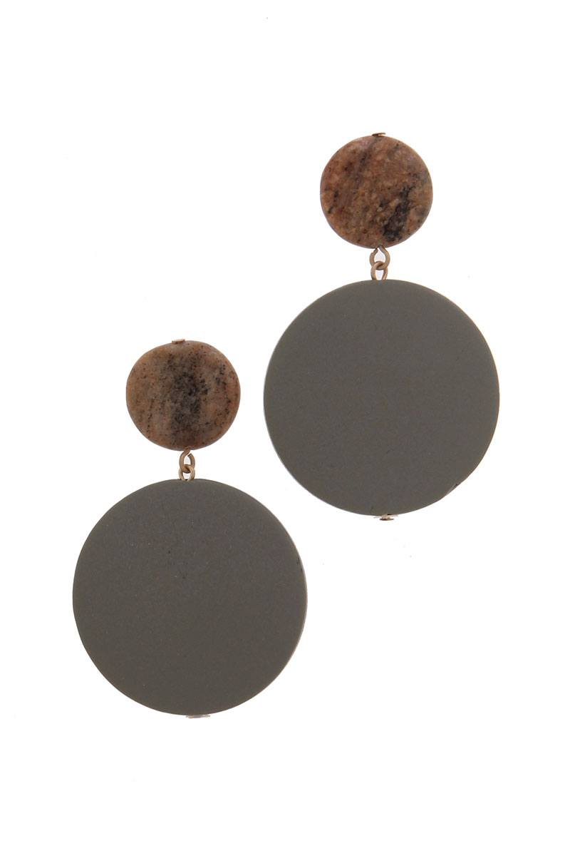 Double Circle Post Drop Earring