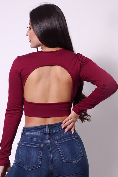 Sexy Long Sleeve Open Back Basic Crop Top