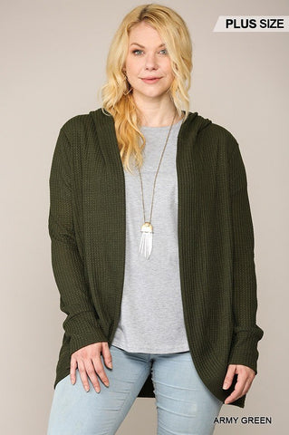 Solid Waffled Hoodie Cardigan With Lapel Collar