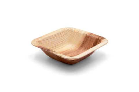 3 inch square palm leaf bowl at angle
