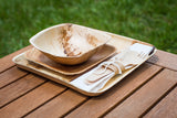 Birch wood cutlery kit and palm leaf dishes