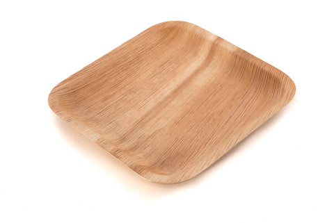 8 inch square palm leaf plate at angle