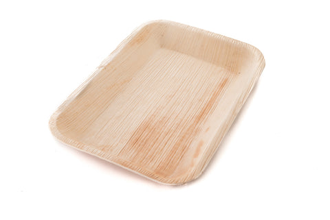 9 inch rectangle palm leaf tray at angle