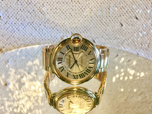 "18k Yellow Gold, Cartier Ballon Bleau, 36.6mm Watch, Guilloche'  and Lacquered Roman Dial, All Cartier Original, Extra Cartier Link Can Be Ordered, Model # W69003Z2, Cartier Calibre 076 Movement, ""MINT"" Like-New!"