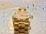 "Rolex Mid-Size President, Model # 68278, 31mm, Rolex Champagne Stick Dial, Rolex 18k Yellow Gold Fluted Bezel, Rolex 18k Yellow Gold Presidential Bracelet, All Original, Circa 1990, Ultra Rare,  ""MINT"" Like-New!"
