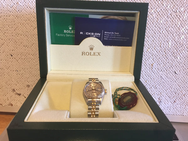 Rolex 26mm Datejust Watch, 26mm Rolex Case, Rolex Original Silver Jubilee Anniversary Diamond Dial, Rolex 18k Yellow Gold Fluted Bezel, Rolex Jubilee Bracelet, Circa 2001, Complete Set!