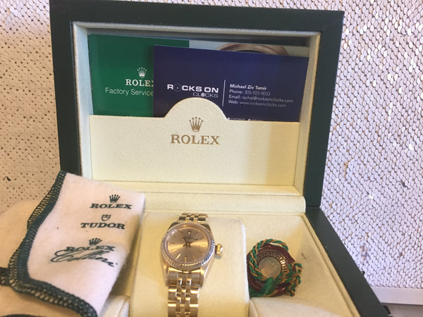 "Rolex Yellow Gold, 26mm, Watch for Ladies, With Champagne Dial, Fluted Bezel, and Rolex Jubilee Bracelet, All Original, ""Mint"" Like-New, This Rolex is Circa 1990, Classy & Stunning!!!"